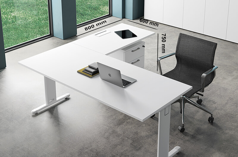 (extension) Monica – White T Leg Office Desk With Cable Management
