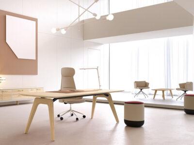 Forza 1 – Modern Sturdy Wood Veneer Oak Top, White, Executive Desk With A Leg