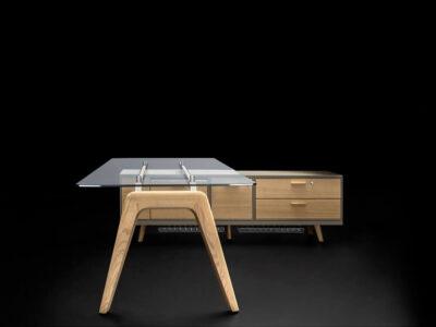 Forza 2 – Modern Glass Top Executive Desk With A Leg