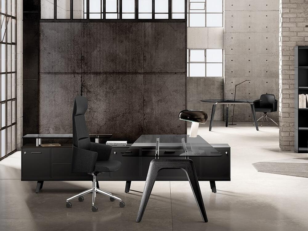 Forza 2 – Modern Glass Top Executive Desk With A Leg1