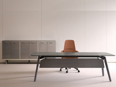 Forza 3 – Modern Ceramic Finish Top Executive Desk With A Leg