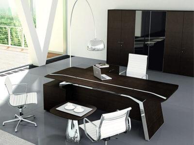 Futura – Modern Black Executive Desk With Solid Panel Legs