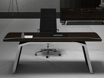 Futura – Modern Black Executive Desk With Solid Panel Legs1