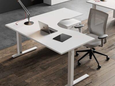 Kera – Square C Leg Corner Office Desk with Storage