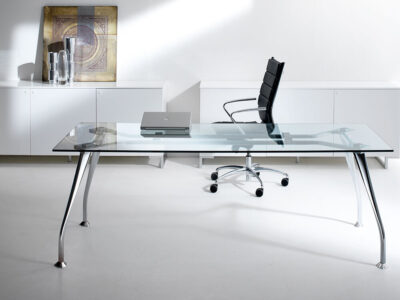 Lithos Glass Top Rectangular Desk For Service Cabinet With 3 Legs