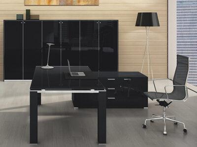 Noemi – Coloured Glass Top Executive Desk With Goalpost U Leg
