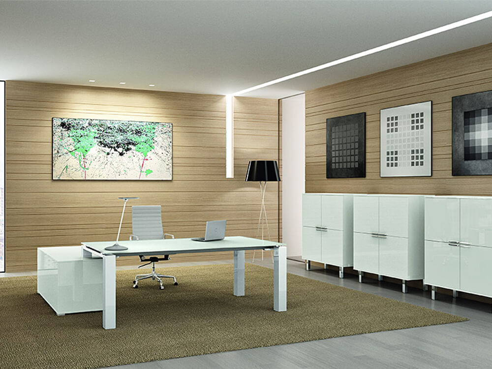 Noemi – Coloured Glass Top Executive Desk With Goalpost U Leg1