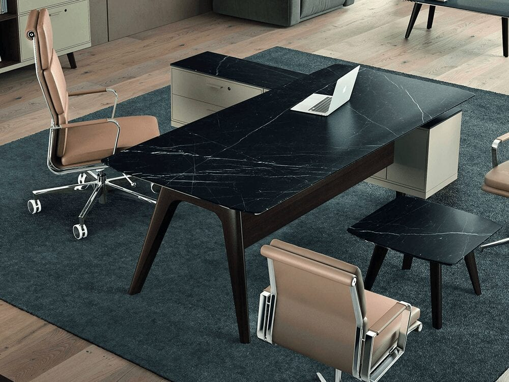 Forza 5 - Modern Stone Finish Top Executive Desk with A Leg and Credenza Storage Unit