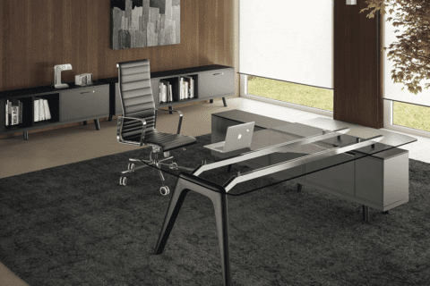 Forza 3 - Modern Glass Top Executive Desk with A Leg