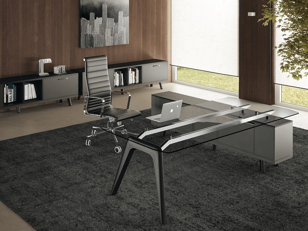 Forza 3 - Modern Glass Top Executive Desk with A Leg and Credenza Storage Unit