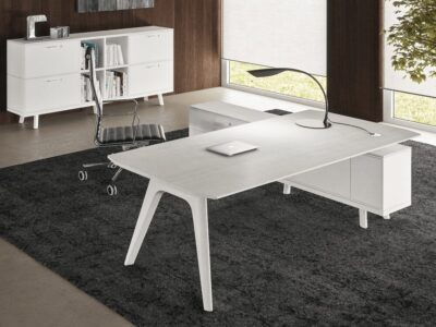 Forza 2 - Modern Sturdy Wooden Top Oak, White Executive Desk with A Leg