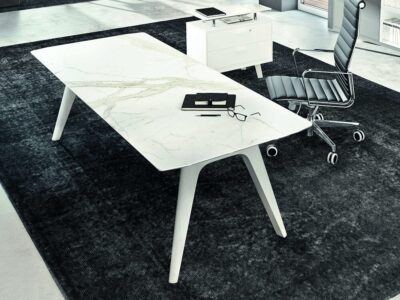 Forza 4 - Modern Stone Finish Top Executive Desk with A Leg