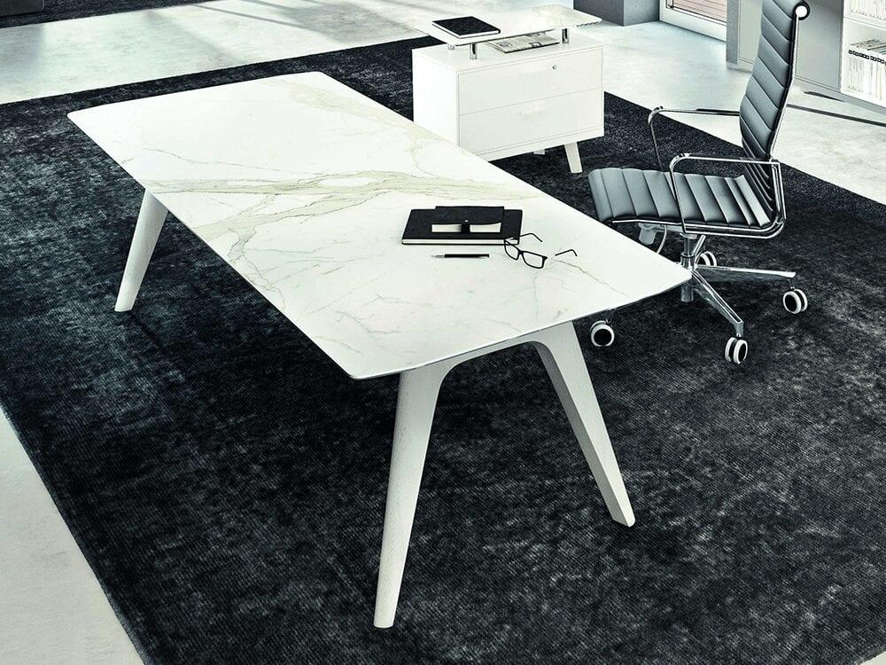 Forza 4 - Modern Ceramic Finish Top Executive Desk with A Leg