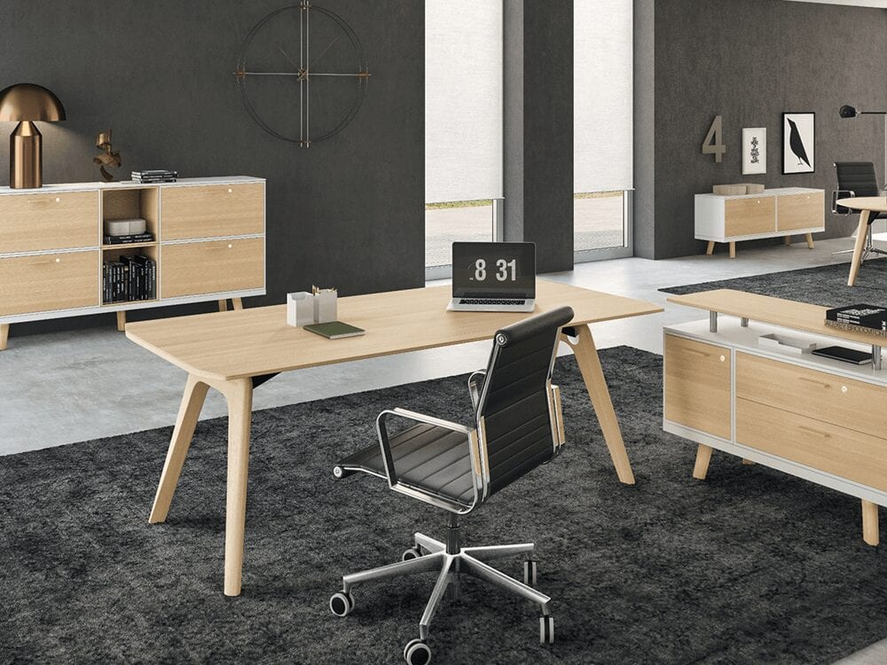 Forza 1 - Modern Sturdy Wooden Top Oak, White, Black or Grey Executive Desk with A Leg