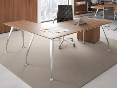 Segno Wood Top Desk With Return