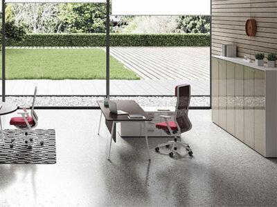 Simona Exec Minimalist Executive Desk With Optional Credenza Unit And Modesty Panel