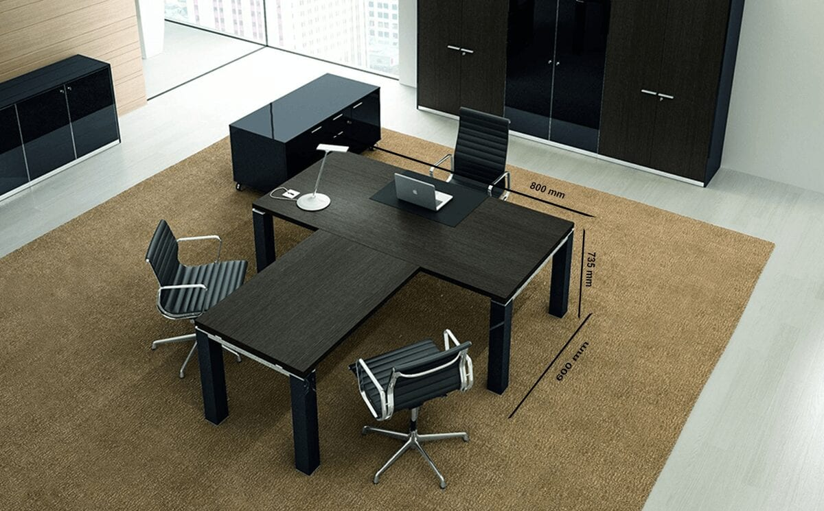 Giulia - White or Wenge Wooden Top Executive Desk with Straight Column Leg