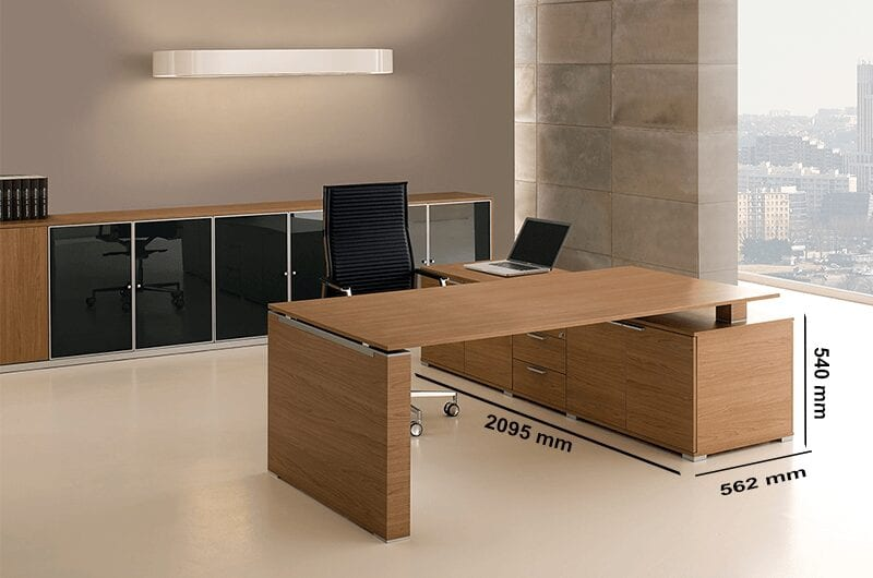 Kingsley 2 – Bridge Executive Desk with Panelled Legs + Optional Modesty Panel and Credenza Unit