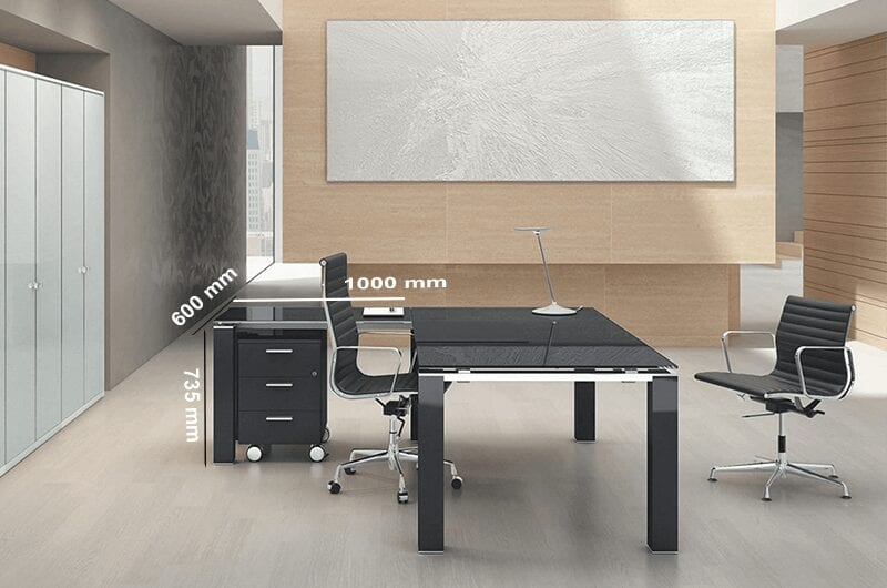 Elegante - Black or White Elegant Toughened Glass Top Executive Desk