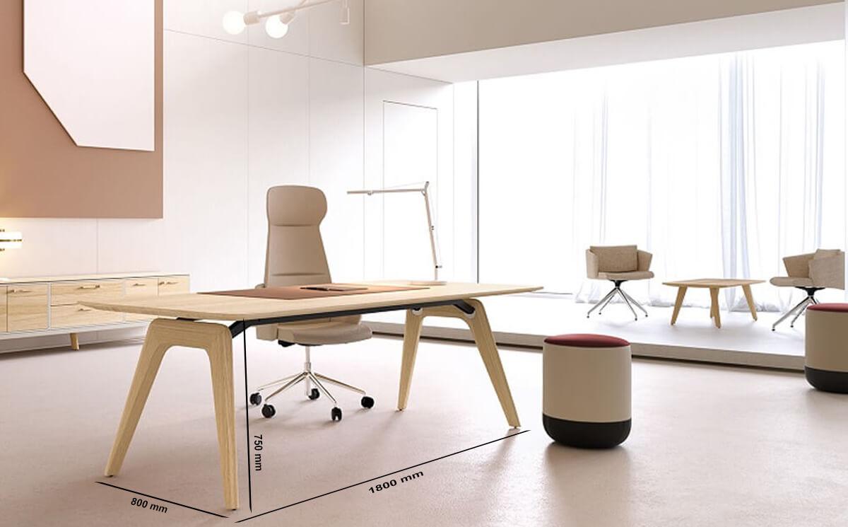 Size Forza 1 – Modern Sturdy Wood Veneer Oak Top, White, Executive Desk With A Leg