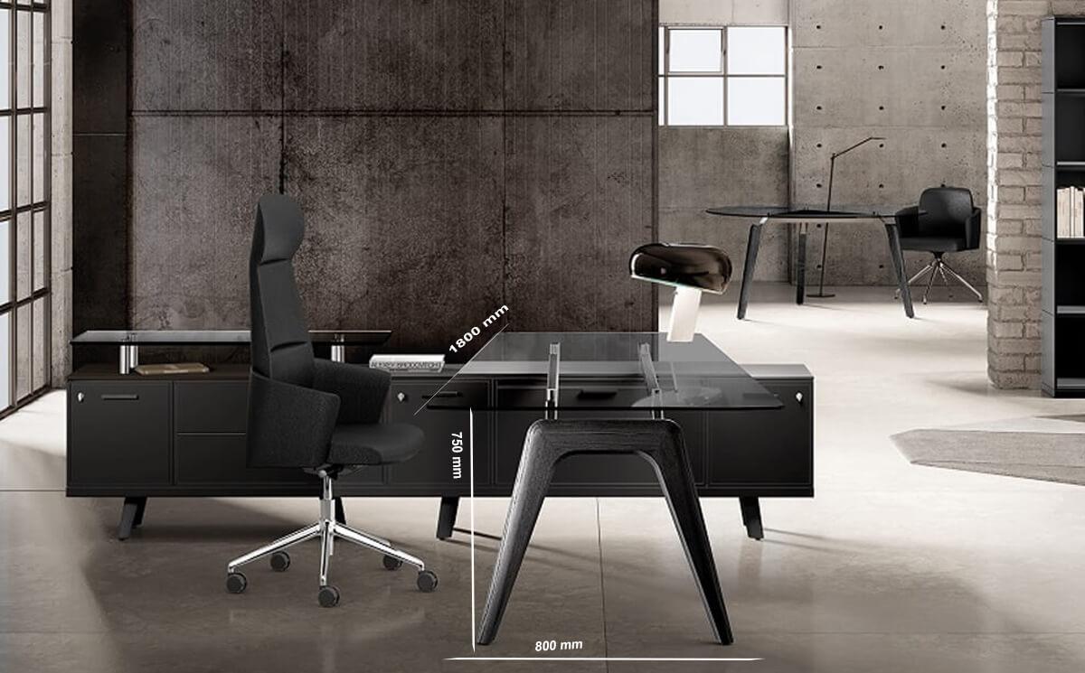 Size Forza 2 – Modern Glass Top Executive Desk With A Leg1