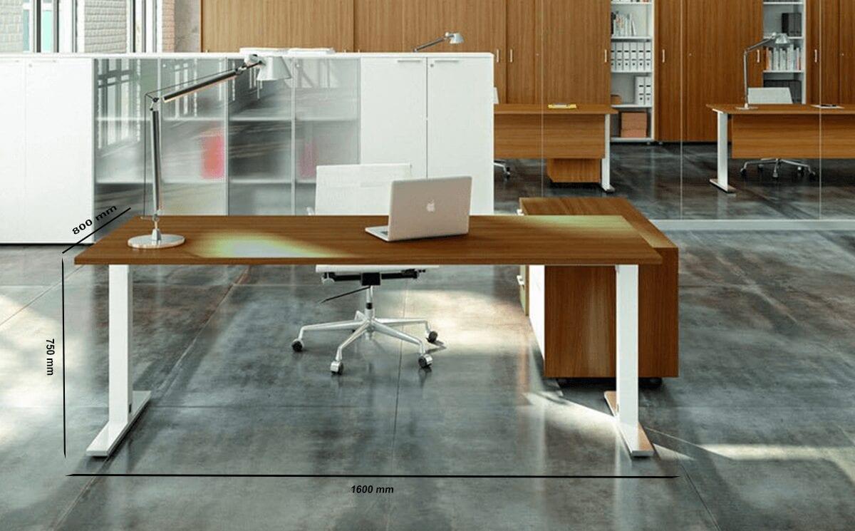 Liscio – Square T Leg Executive Desk with Storage