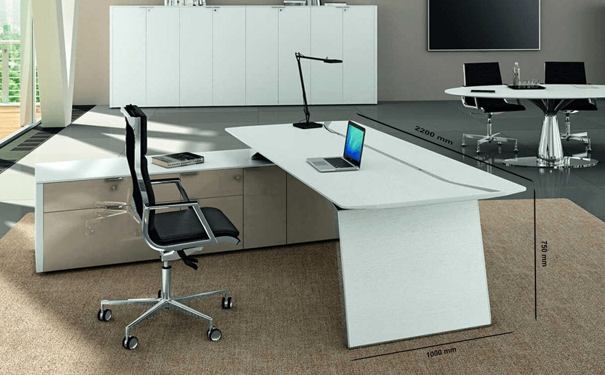 Futura - Modern Black Executive Desk with solid panel legs