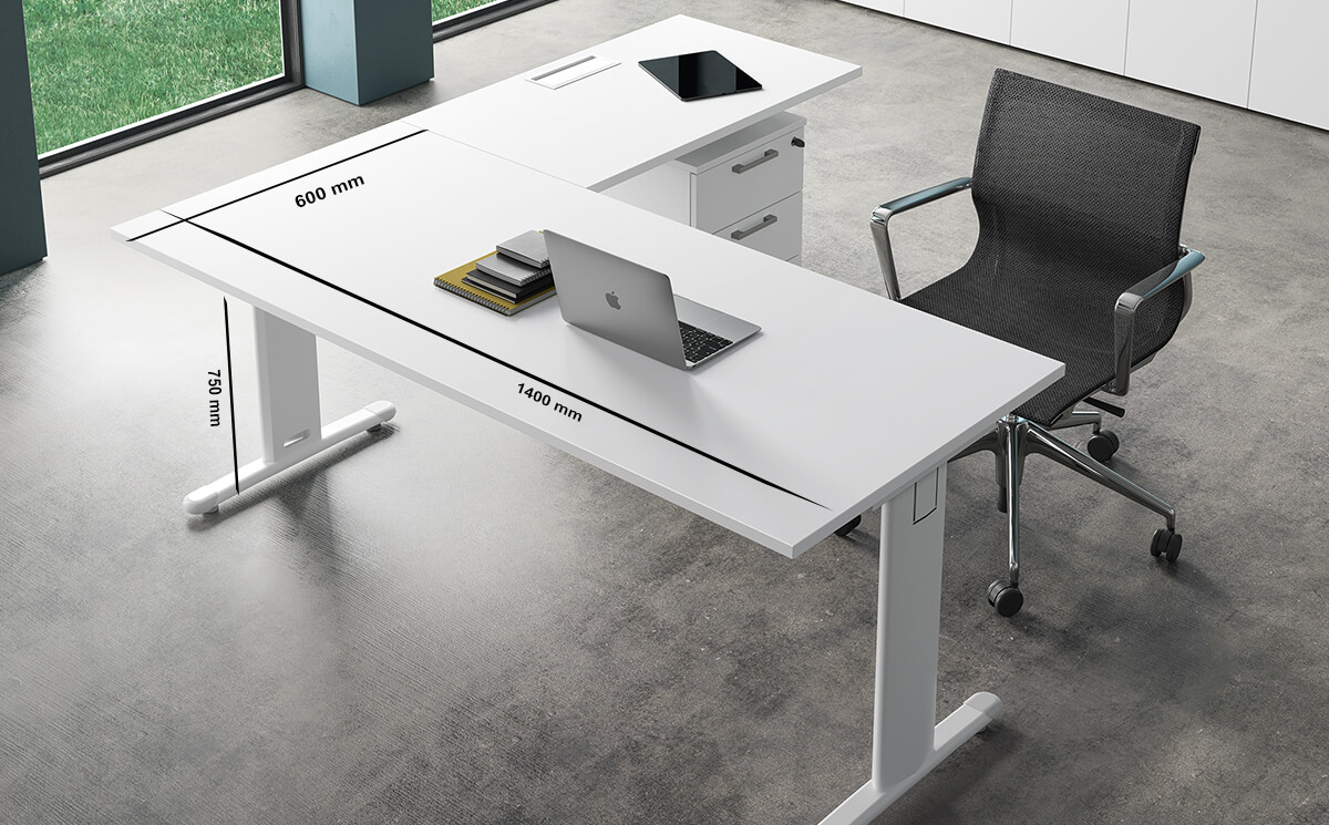 Size Monica – White T Leg Office Desk With Cable Management