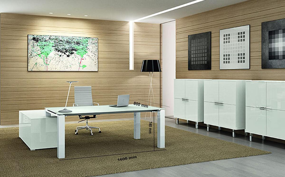 Size Noemi – Coloured Glass Top Executive Desk