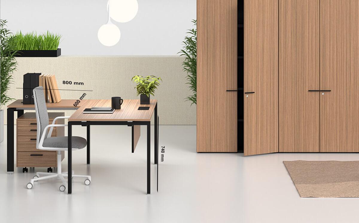 Size Return Lorenzo – Veneer Top Executive Desk With Goalpost U Legs