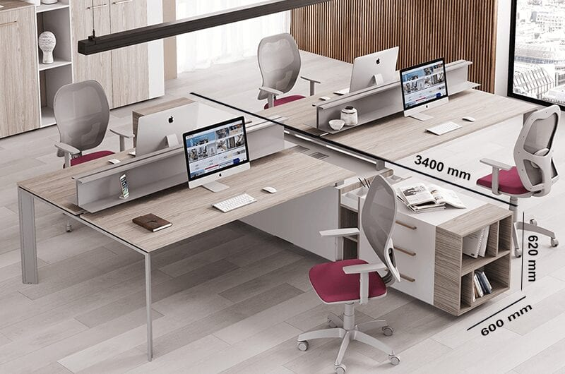 Viviana 2 - Contemporary office workstation desk for 2 or 4 with slim legs