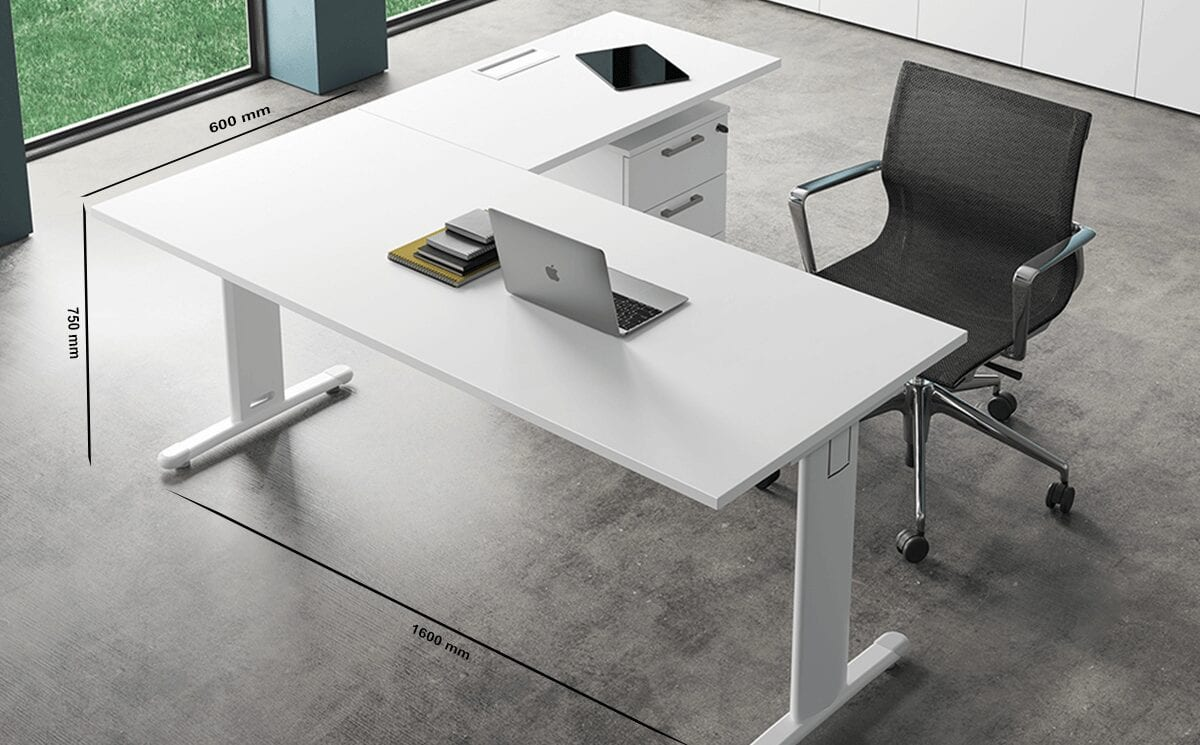 Monica – White T Leg Office Desk with cable management
