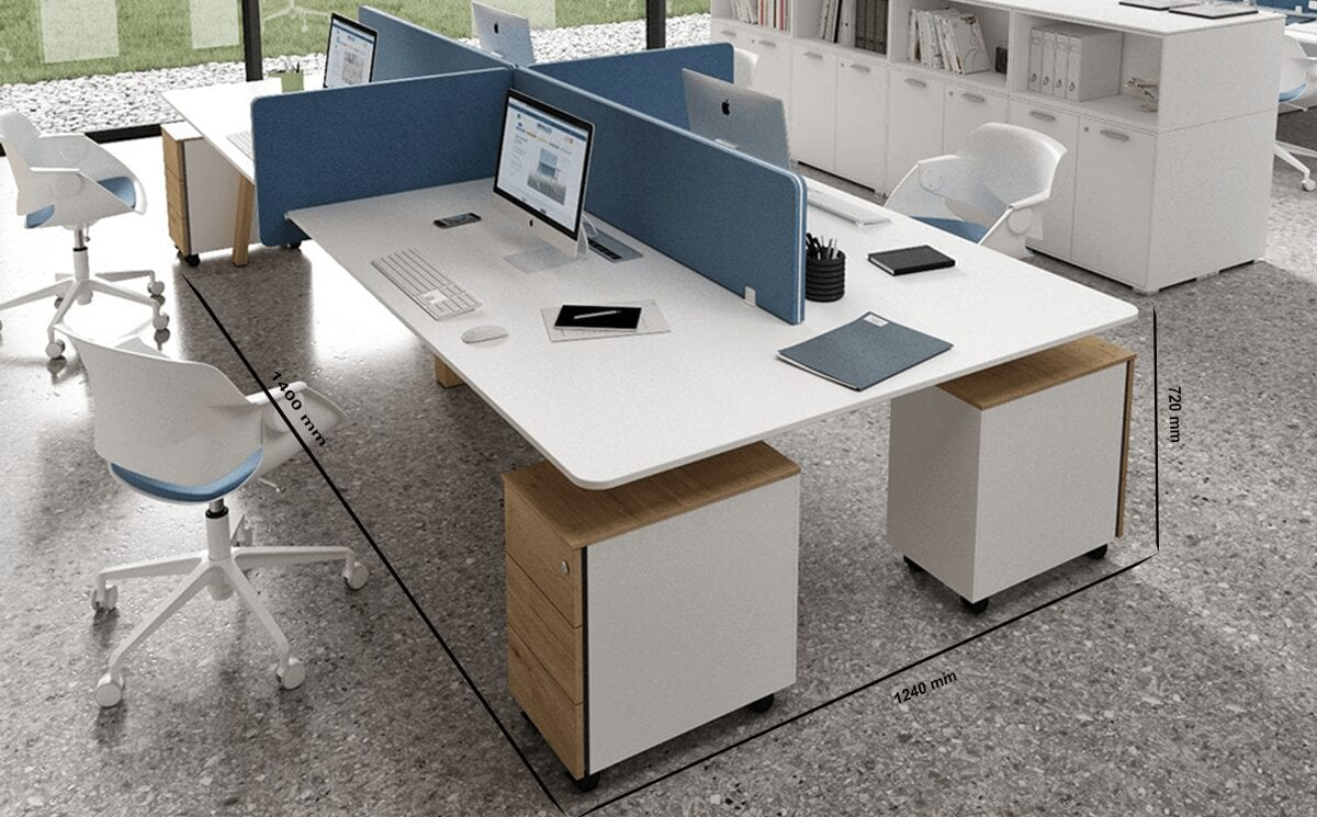 Minimo 4 - Back to back Simple Executive Desk with wooden legs and 2 drawer storage unit