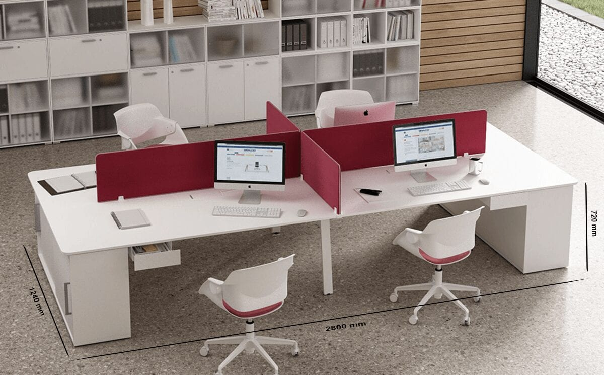 Isola 4 - Workstation for 4 People with Sliding Storage