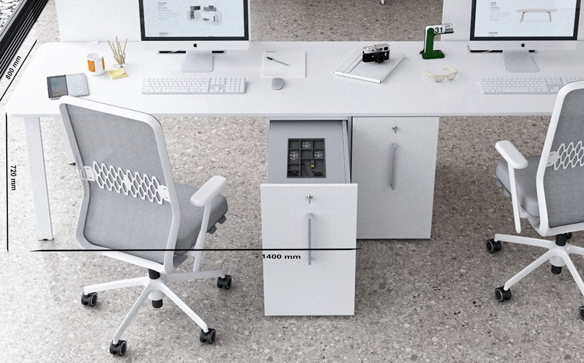 Simona 1 - Minimalist Side By Side Executive Desk with Optional Vertical File Unit