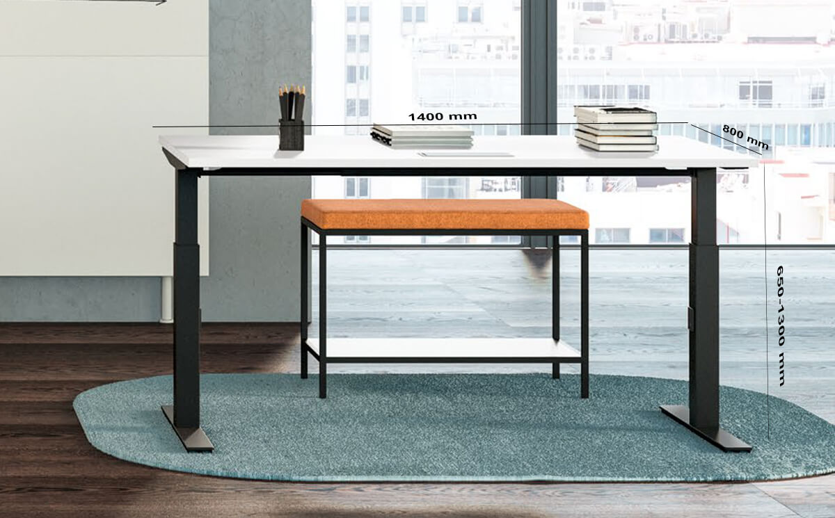 Size Vigente – Height Adjustable At Fixed Positions Desk With Optional Return