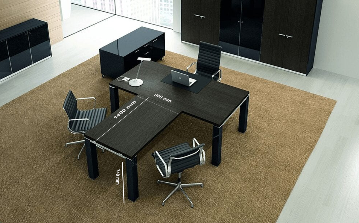 Size Return Giulia – White Or Wenge Wooden Top Executive Desk
