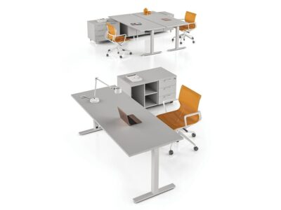 Nube – Cloud Grey Square T Leg Office Desk