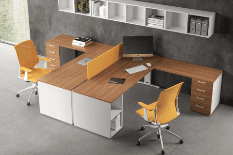 Matteo – T Leg Office Desk with shelf for storage
