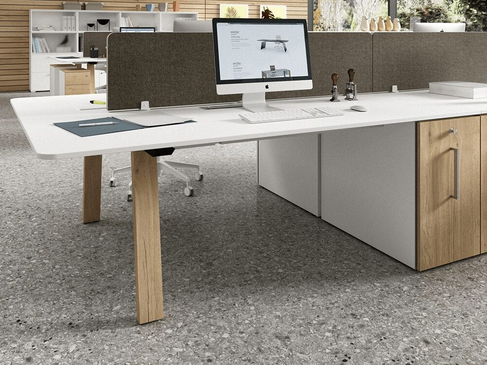 Minimo 3 - Back to Back Simple Executive Desk with Wooden Legs and Vertical File Storage