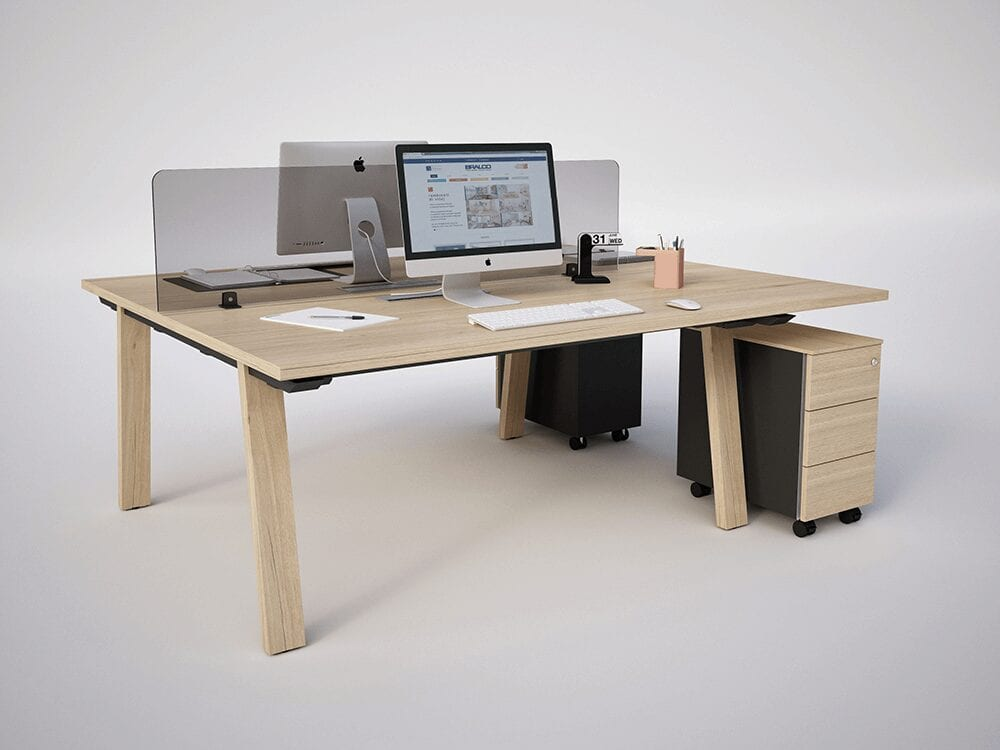 Franco 2 - Back to Back Desks  in Natural Oak or Canaletto Walnut for 2 People