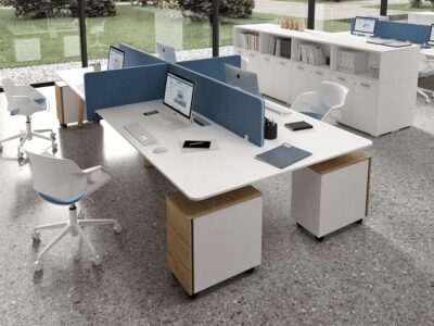 Minimo 4 - Back to back Simple Executive Desk with wooden legs and Optional 2 drawer Pedestal