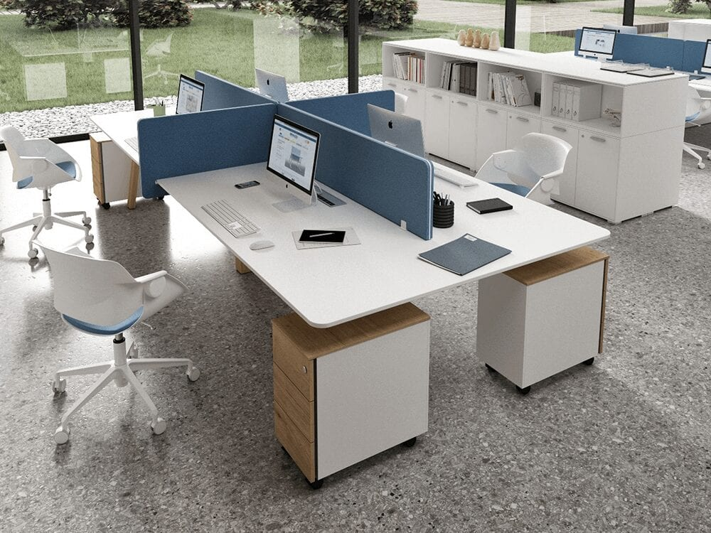 Minimo 4 - Back to back Simple Executive Desk with wooden legs and Optional Pedestal