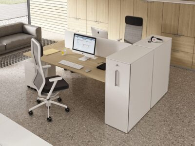 Isola 2 - Back to Back Desks for 2 People with Vertical File Storage