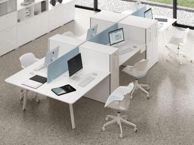 Simona 3 - Minimalist Office Task Desk for 2, 4 and 6 people and optional Vertical Storage