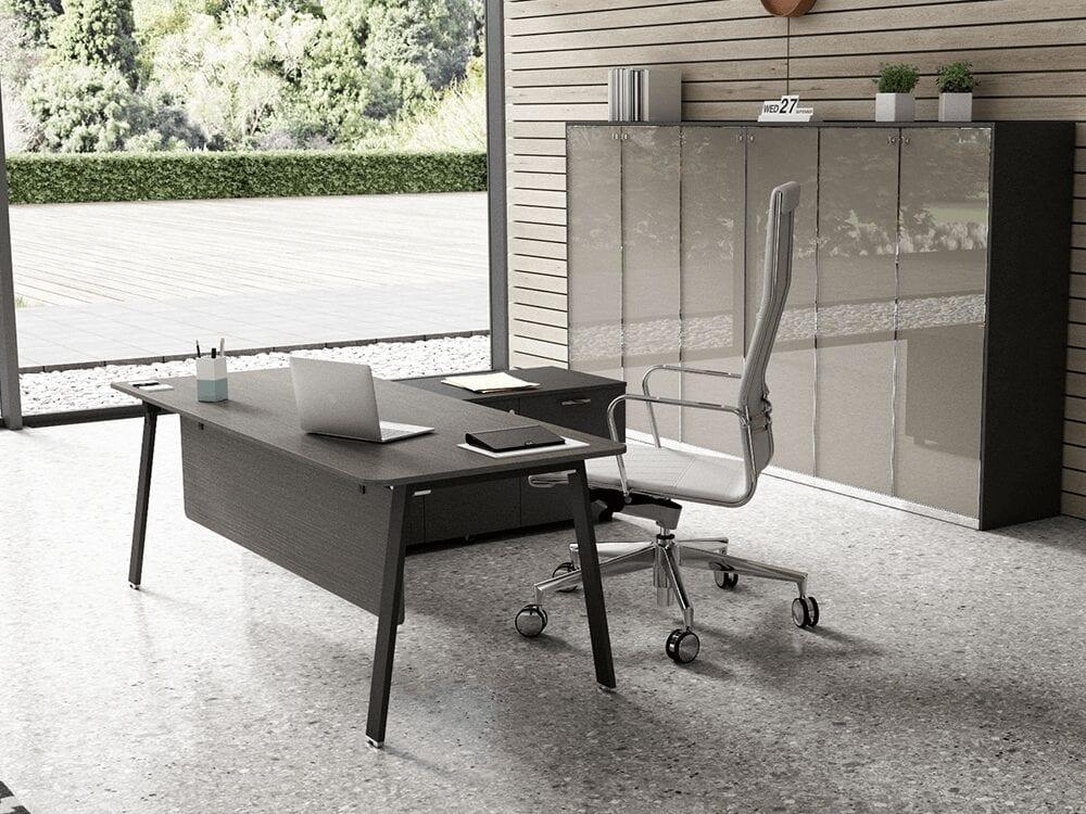 Simona Exec- Minimalist Executive Desk with Optional Credenza Unit and Modesty Panel