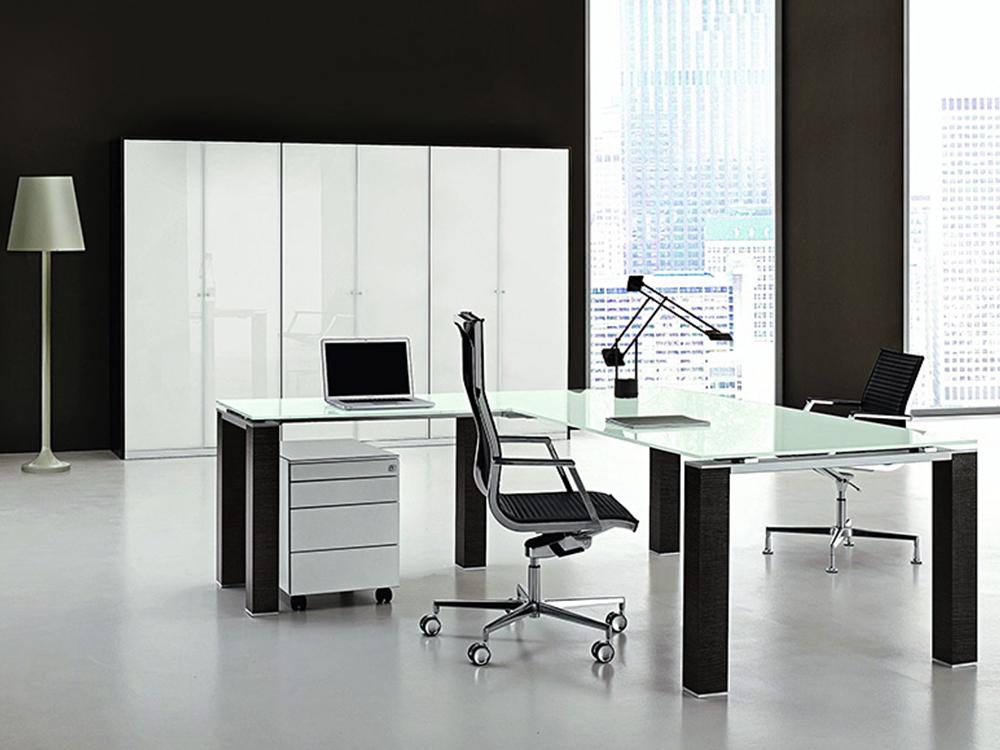 Vetroso – Glass Executive Desk With Sturdy U Goalpost Legs