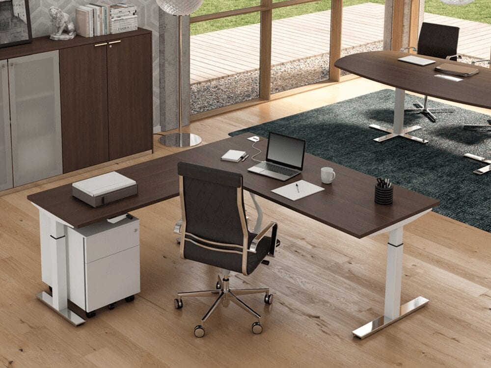 Vigente – Height Adjustable at Fixed Positions Desk with Optional Extension