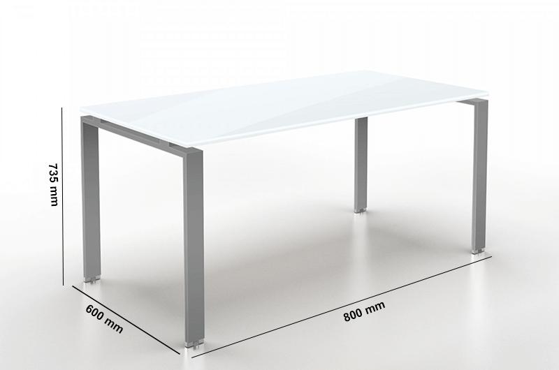 Doria Glass Desk Dimension