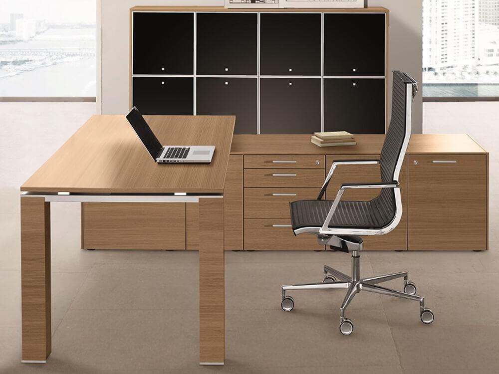 Legnosa – Natural Oak or Walnut Finish Wooden Executive Desk with Goalpost U Leg
